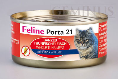 Mokra karma Feline Porta 21 dla dorosłych kotów – Mięso tuńczyka zwołowiną wgalaretce