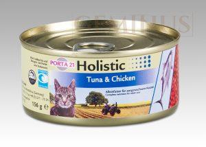 Mokra karma Feline Porta Holistic 21 dla kotów, zwierająca tuńczyka ikurczaka, 156g