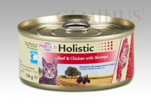 Mokra karma Feline Porta Holistic 21 dla kotów, zwierająca wołowinę, kurczaka ikrewetki, 156g
