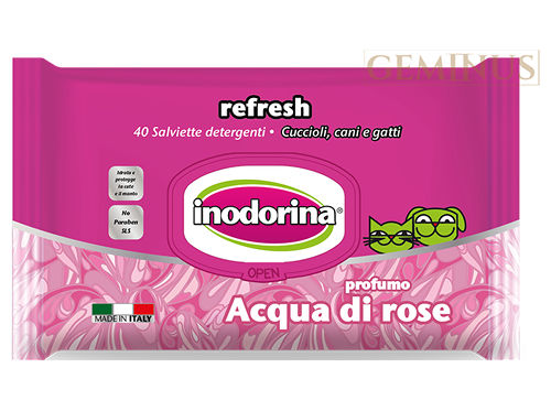 Chusteczki pielęgnacyjne Inodorina Refresh ozapachu wody różanej