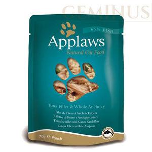 Mokra karma Applaws dla kotów: Filet zTuńczyka zAnchois iWodorostami wWywarze Rybnym; saszetka 70g