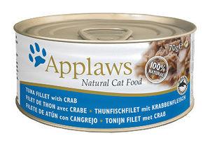 Mokra karma Applaws dla kotów: Filet zTuńczyka zkrabem; puszka 70g