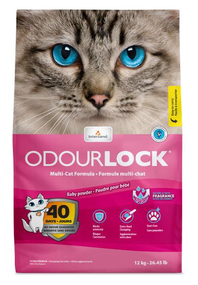 Bentonitowy żwirek Intersand OdourLock Baby Powder dla kotów – ozapachu pudru dla dzieci
