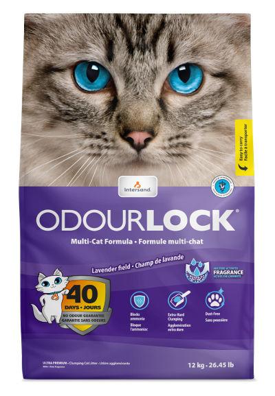 Bentonitowy żwirek Intersand OdourLock Lavender Field dla kotów – ozapachu lawendy