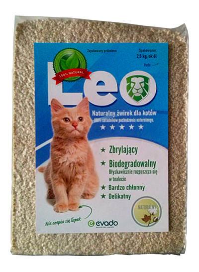 Roślinny żwirek Leo dla kotów – kruszon ozapachy naturalnym