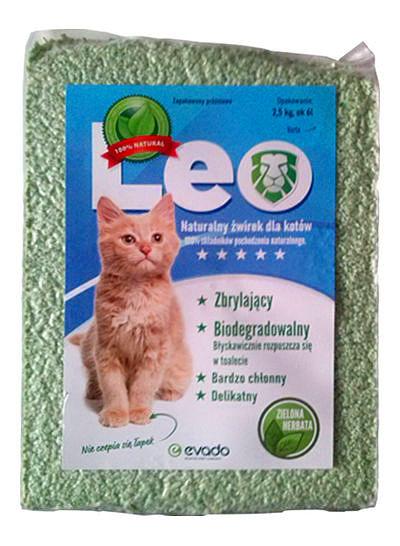 Roślinny żwirek Leo dla kotów – kruszon ozapachu zielonej herbaty