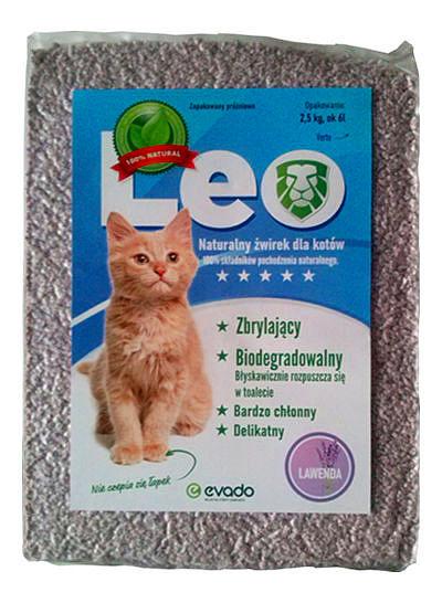 Roślinny żwirek Leo dla kotów – kruszon ozapachu lawendy
