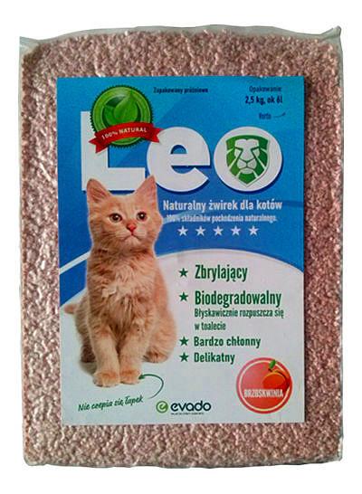 Roślinny żwirek Leo dla kotów – kruszon ozapachu brzoskwini