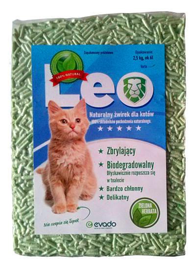 Roślinny żwirek Leo dla kotów – pellet ozapachu zielonej herbaty