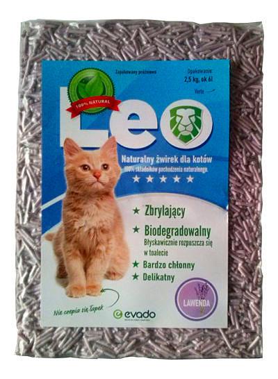 Roślinny żwirek Leo dla kotów – pellet ozapachu lawendy