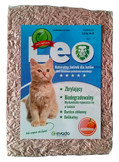 Roślinny żwirek Leo dla kotów – pellet ozapachu brzoskwini
